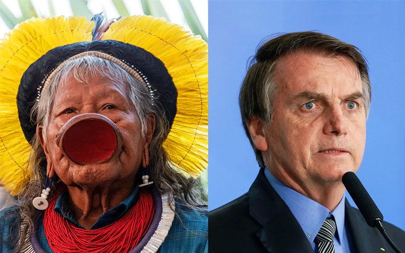"""Bolsonaro detona cacique Raoni: """"ele vive tomando champanhe em outros países"""""""