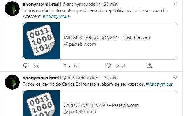 Anonymous Brasil revela dados de Bolsonaro e familiares